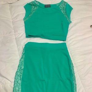 Turquoise skirt set